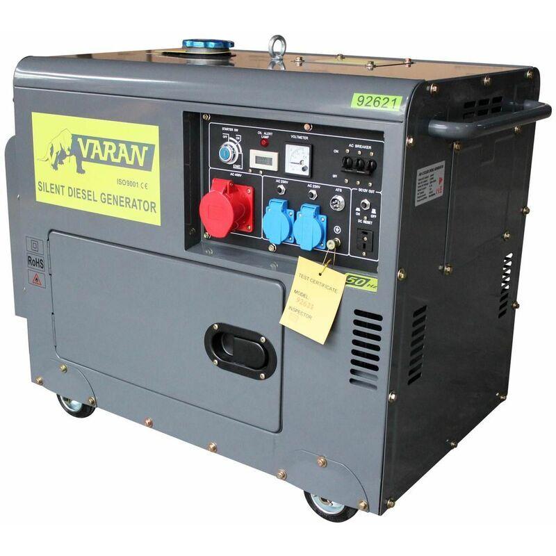 Varan Motors - 92621-ATS Groupe électrogène Diesel 5.5kVA, 1 x 400V, 2