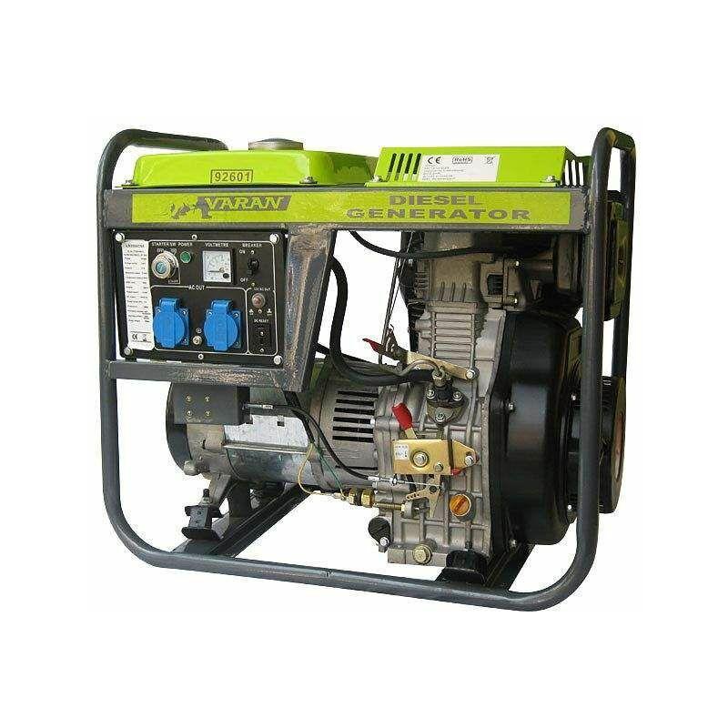 Varan Motors - 92601 Groupe électrogène Diesel 5.0kW, 2 x 230V, 1 x