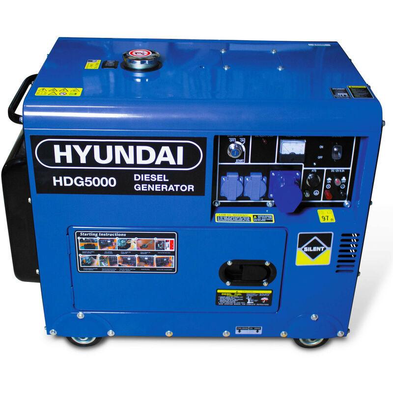 Hyundai - Groupe électrogène diesel 4500 W 5000 W - Monophasé HDG5000