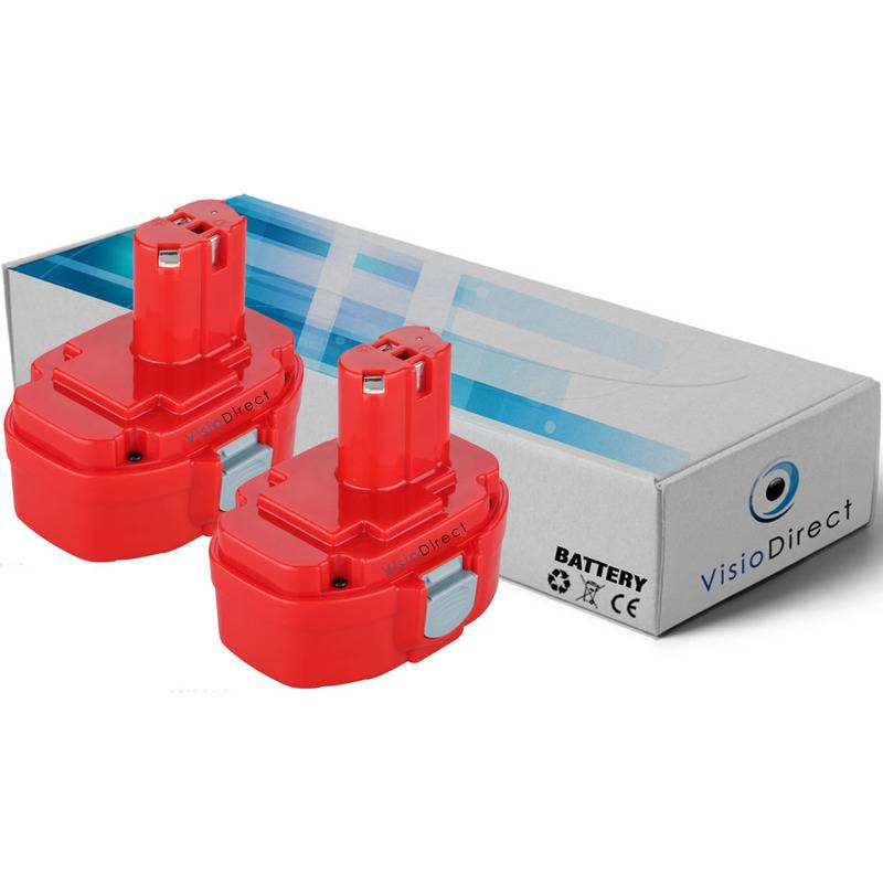 VISIODIRECT Lot de 2 batteries pour Makita 4334DWAE scie sauteuse 3000mAh 18V