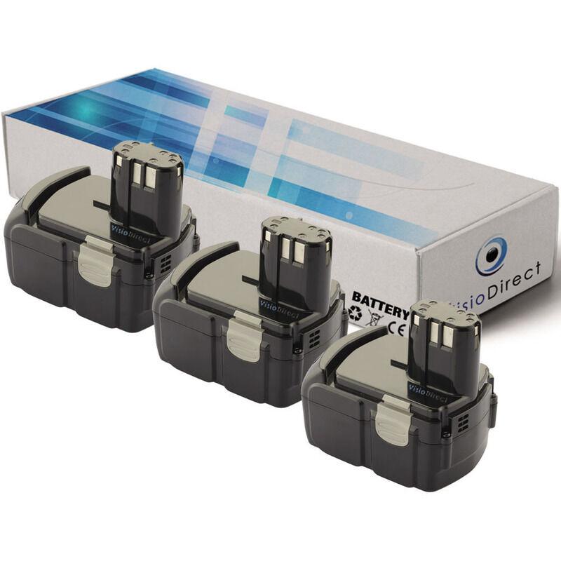 VISIODIRECT Lot de 3 batteries pour Hitachi C18 DLP4 scie sauteuse 3000mAh 18V