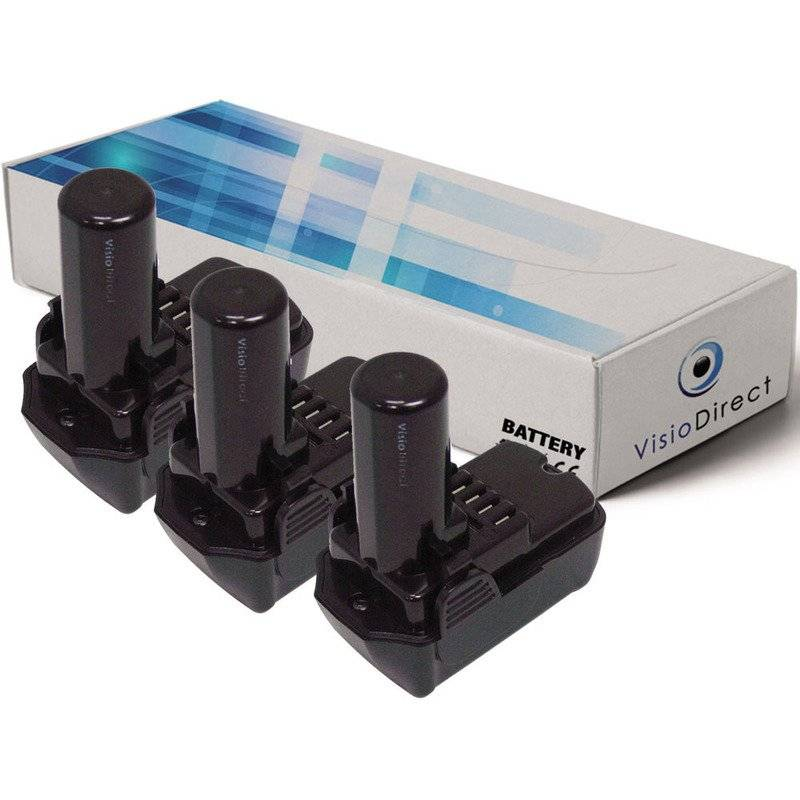 VISIODIRECT Lot de 3 batteries pour Hitachi CJ10DL scie sauteuse 1500mAh 10.8V