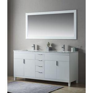 Emotion Ensemble de meuble SDB 2 pcs Elba 180 style rustique blanc laqué monté - Publicité