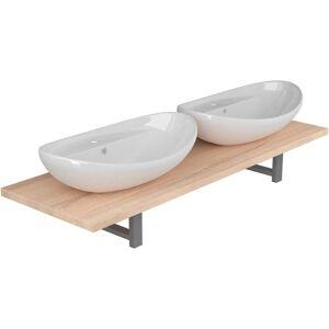 VIDAXL Meuble de salle de bain à 3 pcs Céramique Chêne - Publicité