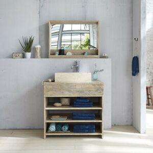 BOIS DESSUS BOIS DESSOUS Meuble de salle de bain en bois d'hévéa 80 - Naturel / gris - Publicité
