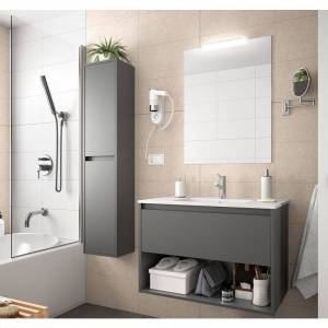 Caesaroo - Meuble de salle de bain suspendu 100 cm gris opaque avec un - Publicité
