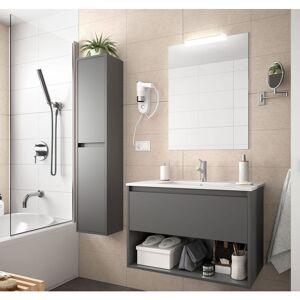 CAESAROO Meuble de salle de bain suspendu 80 cm gris opaque avec un tiroir et un - Publicité