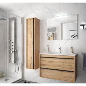 CAESAROO Meuble de salle de bain suspendu 80 cm Nevada en bois couleur chêne - Publicité