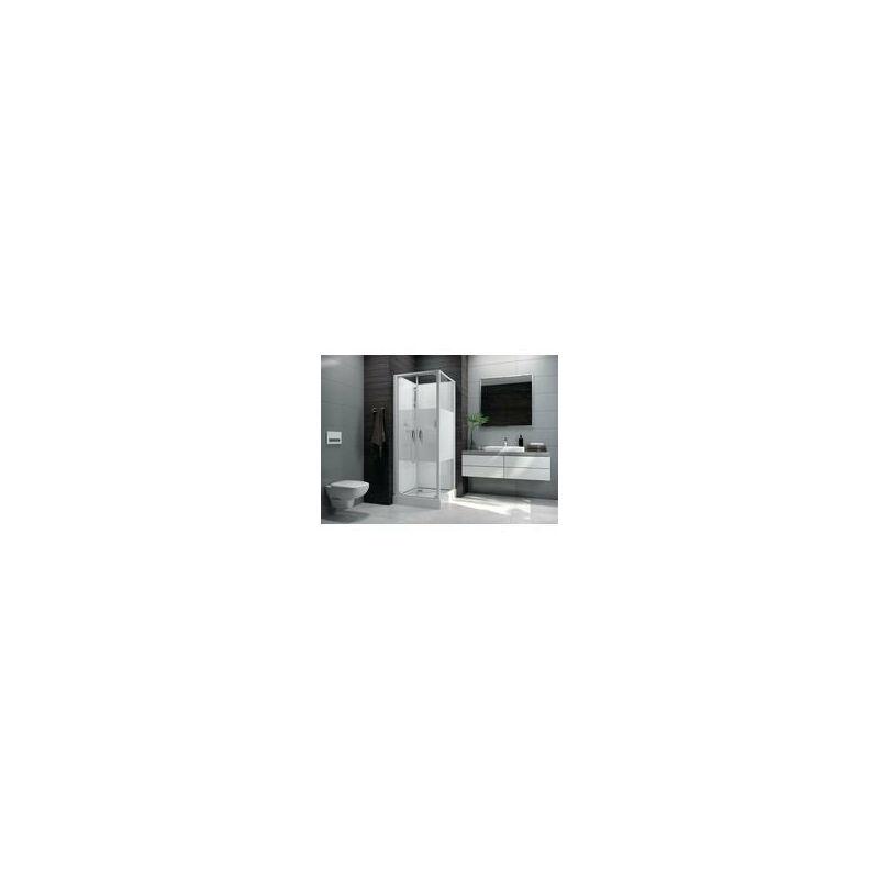 LEDA Cabine de douche IZI BOX 2 carree 80 cm portes battantes en verre