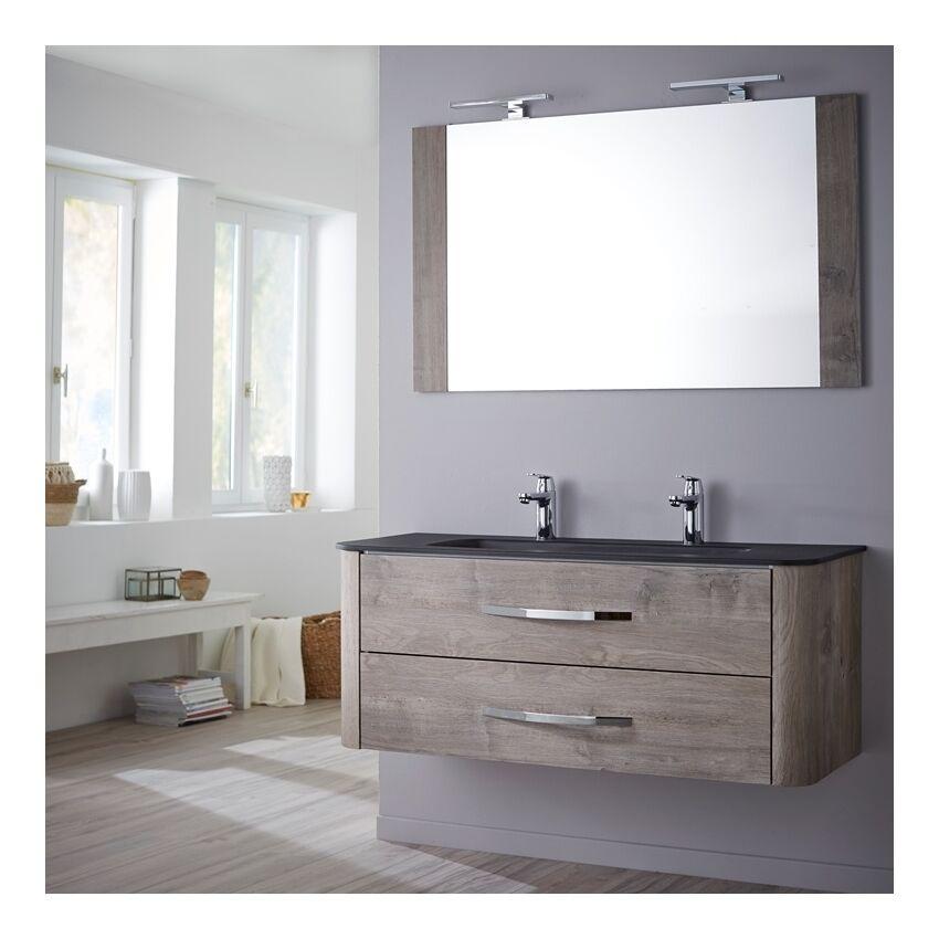 Planetebain Ensemble meuble de salle de bain 120 cm Curve couleur chêne grisé