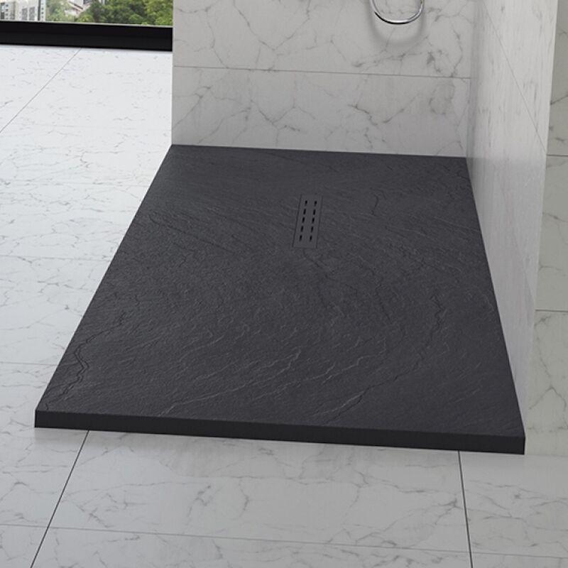 Kinedo - Receveur douche aspect pierre Kinestone, 100 x 90, gris