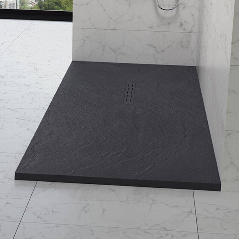 Kinedo - Receveur douche aspect pierre Kinestone, 140 x 100, gris