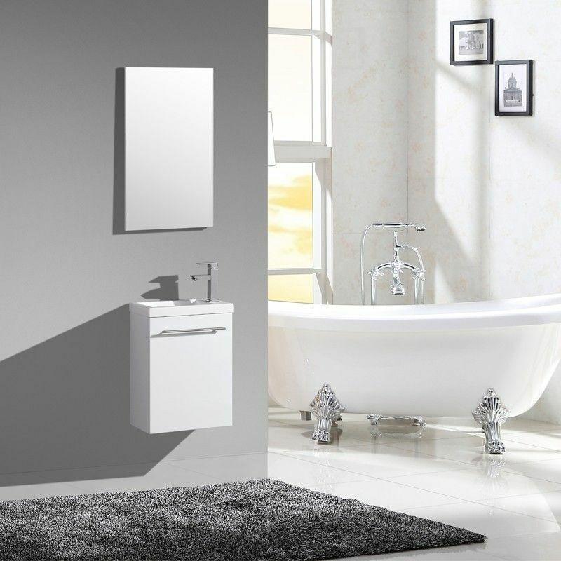 JINDOLI Lave-main suspendu - wc - AQUAPIXO - 40 cm - blanc laqué - vasque