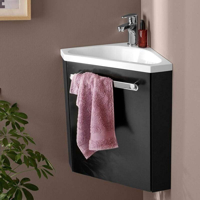 MOB-IN Meuble lave-mains d'angle Noir Carbone SKINO - Noir