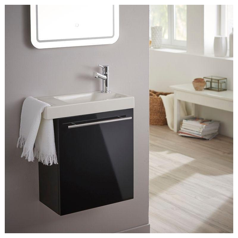 Planetebain Lave mains noir brillant pour wc avec robinet eau froide à droite