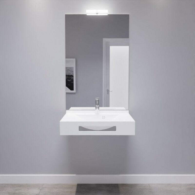 LEA 70 cm avec plan vasque, miroir - blanc brillant - LEA