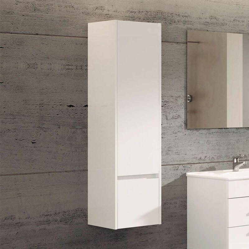 DUCHA.ES Meuble colonne pour salle de bain 35x32x130cm – 1 porte et un tiroir