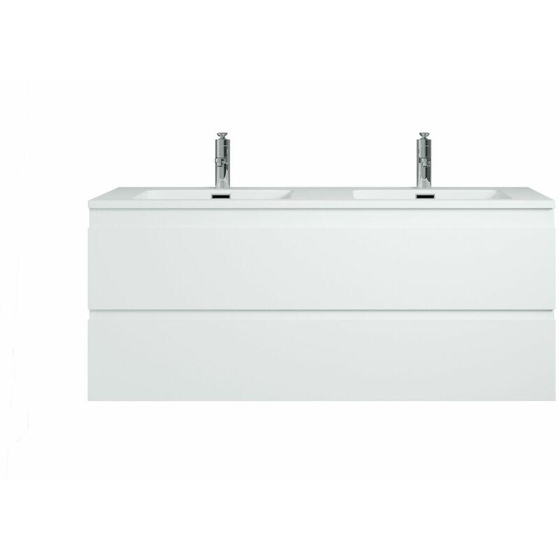 BADPLAATS Meuble de salle de bain Angela 120 cm - lavabo blanc mat - Blanc mat