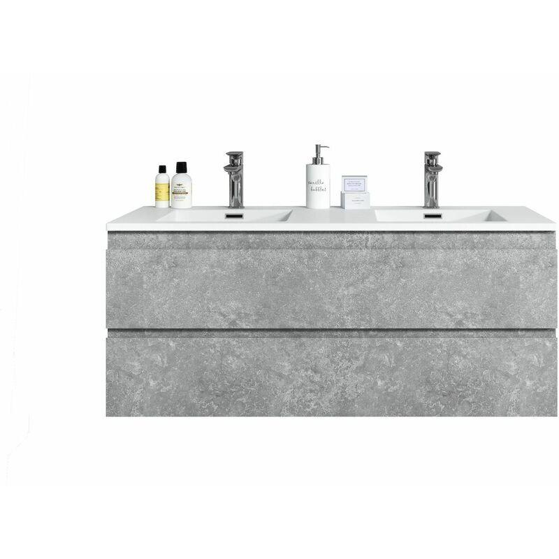 BADPLAATS Meuble de salle de bain Angela 120cm lavabo Gris – Armoire de rangement