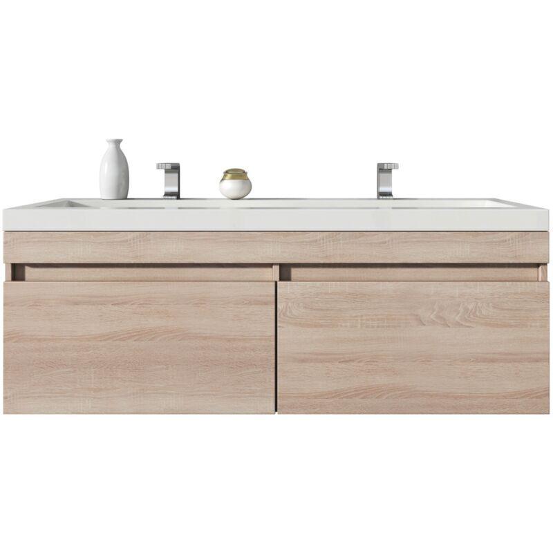 BADPLAATS Meuble de salle de bain Avellino 120cm lavabo Chene clair – Armoire de