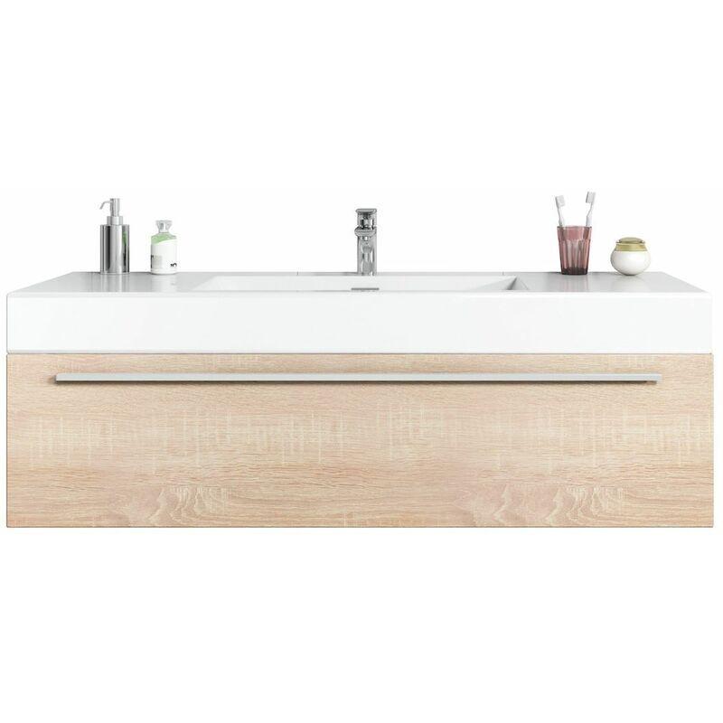BADPLAATS Meuble de salle de bain Garcia 120cm lavabo Chene clair – Armoire de