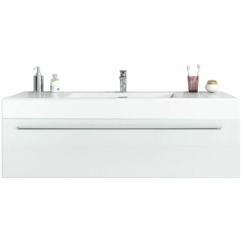 BADPLAATS Meuble de salle de bain Garcia 120cm lavabo blanc brillant – Armoire de