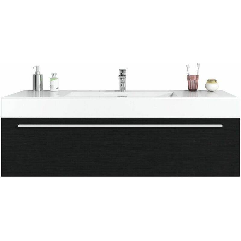 BADPLAATS Meuble de salle de bain Garcia 120cm lavabo bois noir – Armoire de