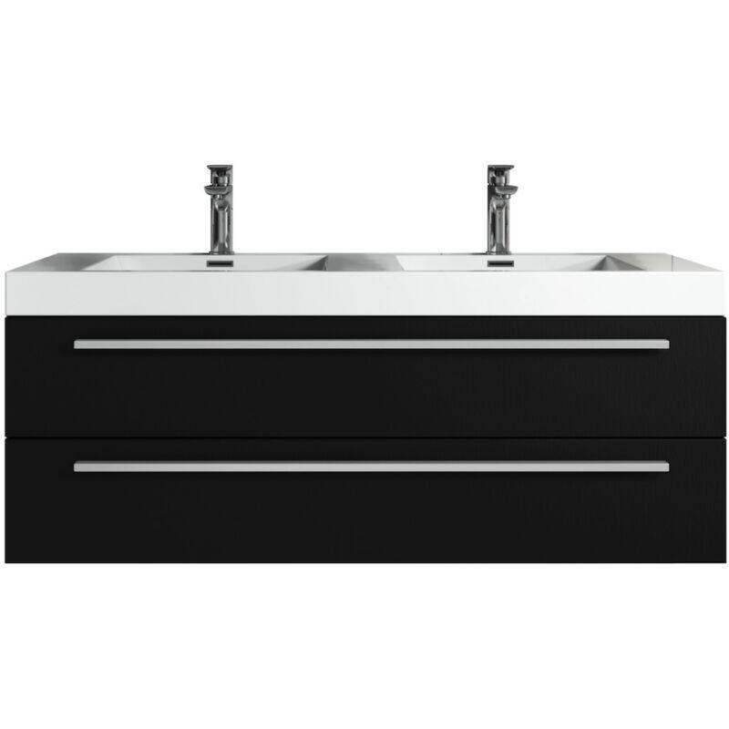 Badplaats - Meuble de salle de bain Rome 120cm lavabo bois noir –