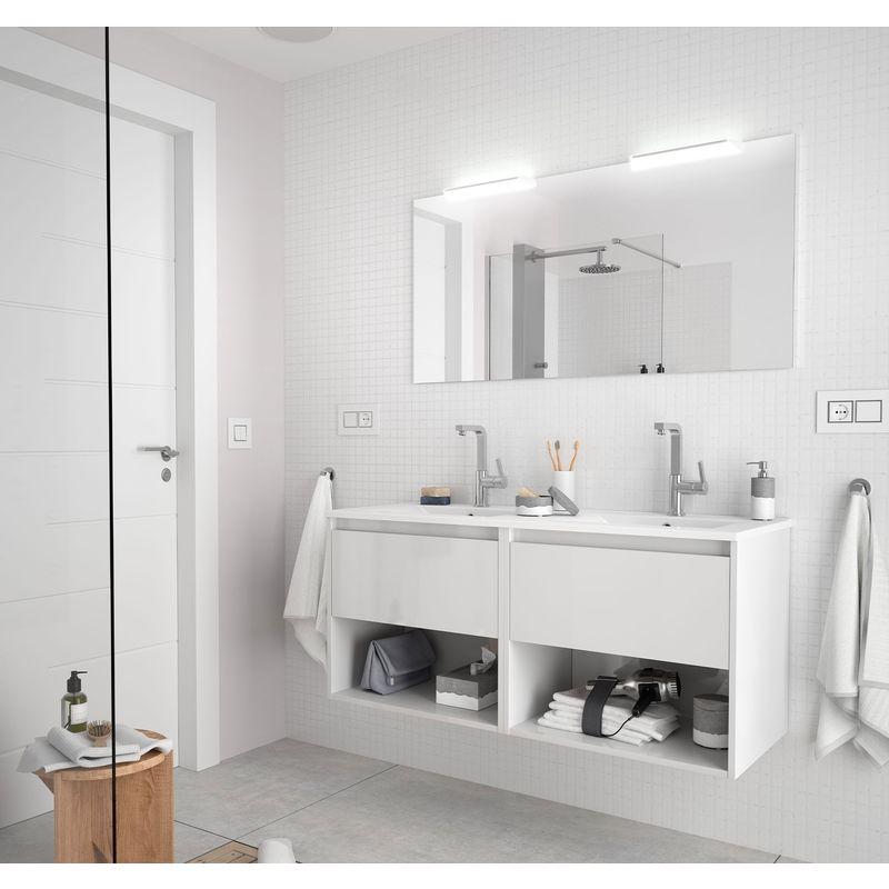 CAESAROO Meuble de salle de bain suspendu 120 cm Blanc brillant avec deux