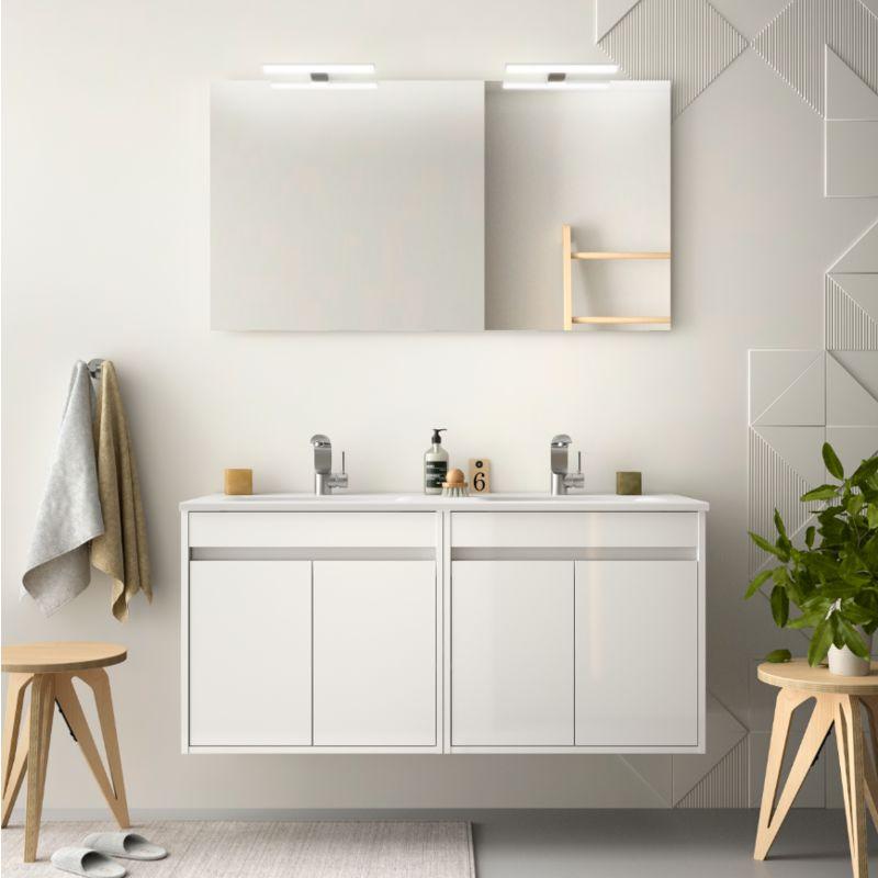 CAESAROO Meuble de salle de bain suspendu 120 cm Blanc laque avec quatre portes