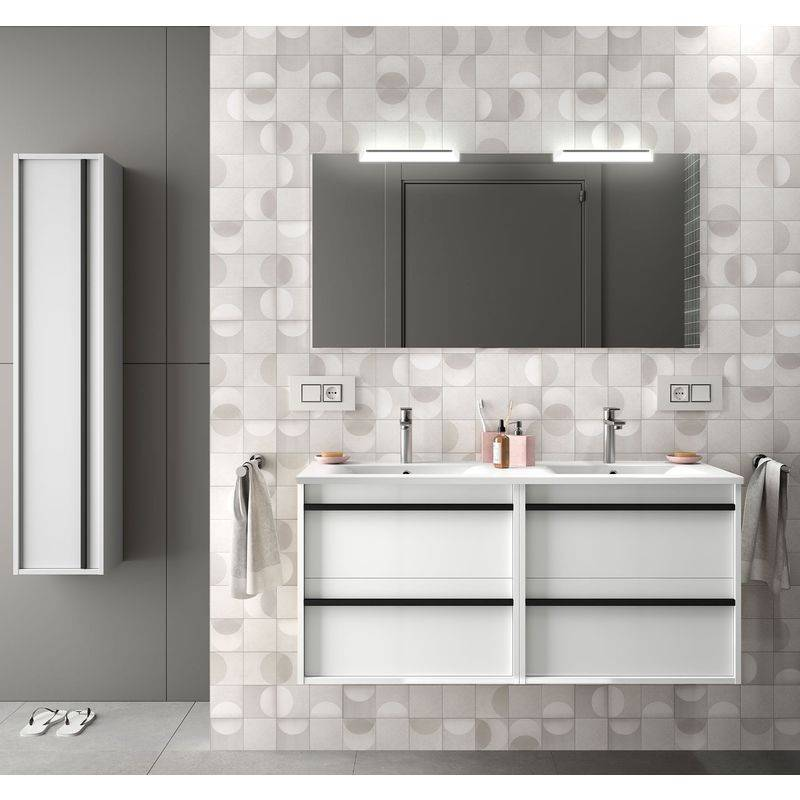 CAESAROO Meuble de salle de bain suspendu 120 cm en bois Blanc brillant avec