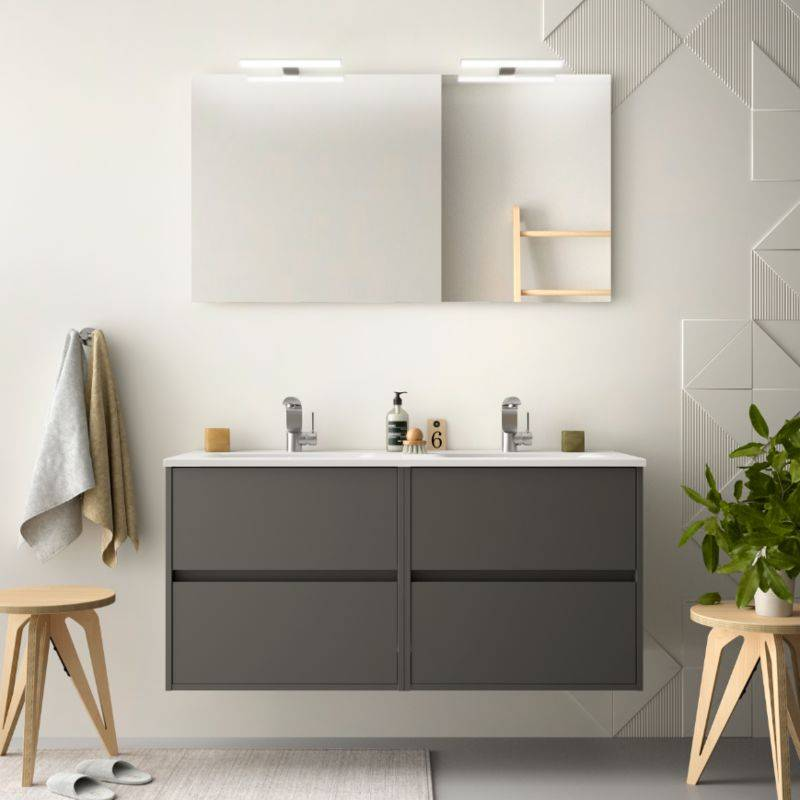 CAESAROO Meuble de salle de bain suspendu 120 cm gris opaque avec lavabo en