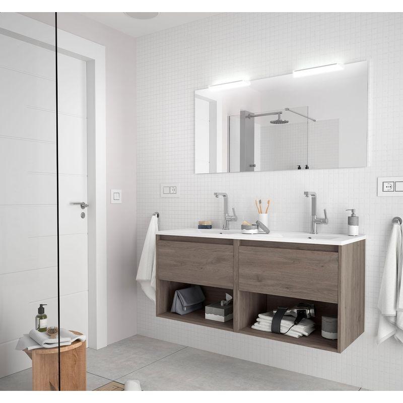 CAESAROO Meuble de salle de bain suspendu 120 cm Chêne eternity avec deux