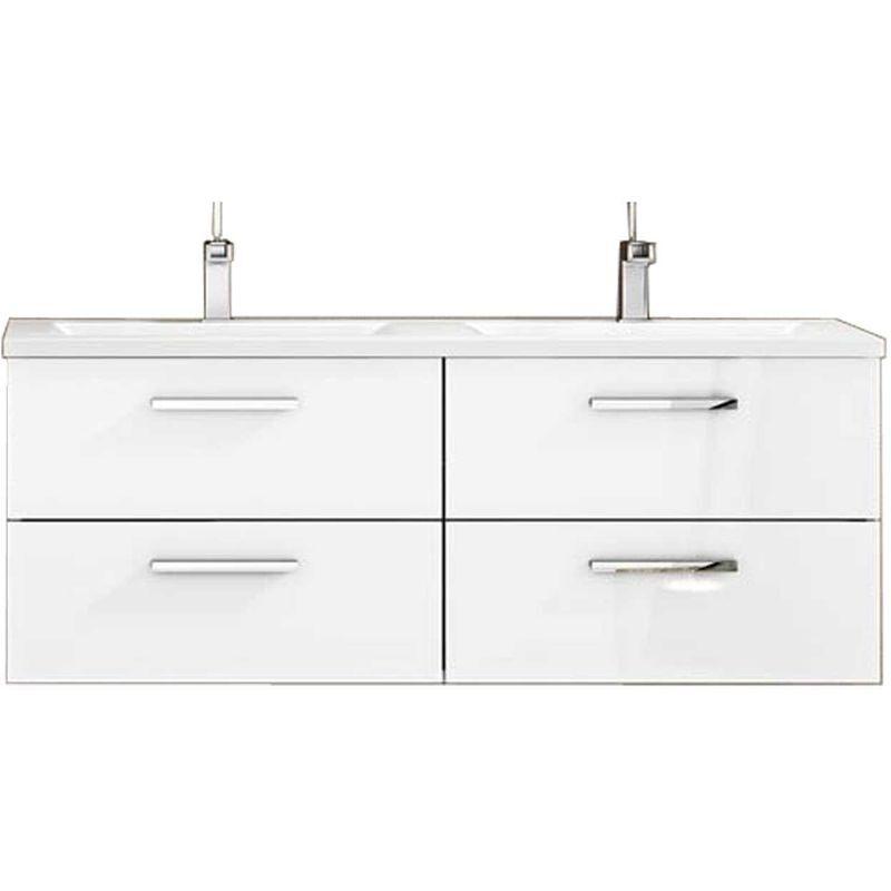 Mennza - Meuble de salle de bain suspendu CORDOBA 120 cm Blanc Brillant