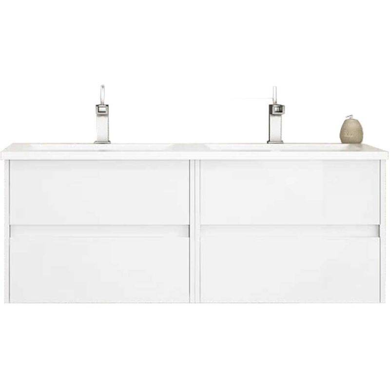 MENNZA Meuble de salle de bain suspendu LERMA 120 cm Blanc Brillant - MENNZA
