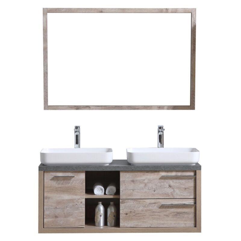 BADPLAATS Meuble de salle de bain Vermont 120cm lavabo nature wood – Armoire de