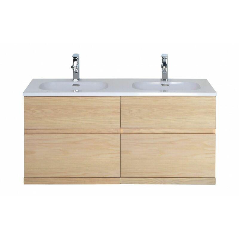 MOB-IN Meuble salle de bain 120 cm à suspendre chêne ENIO - MOB-IN