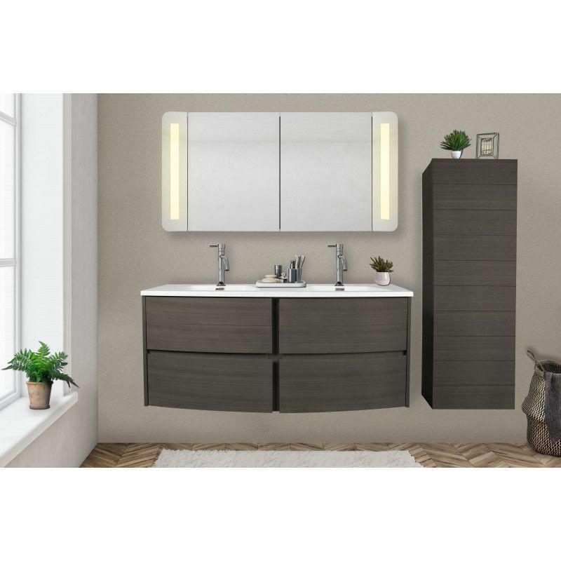 MOB-IN Meuble Salle de bain 120 cm Taupe avec double vasque en résine Blanche