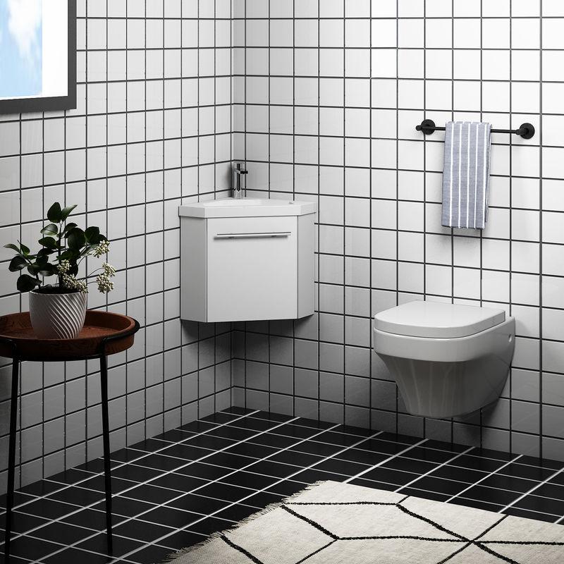 AICA SANITAIRE Meuble salle de bain d'angle 39.5x39.5x42cm 1 porte avec le robinet et