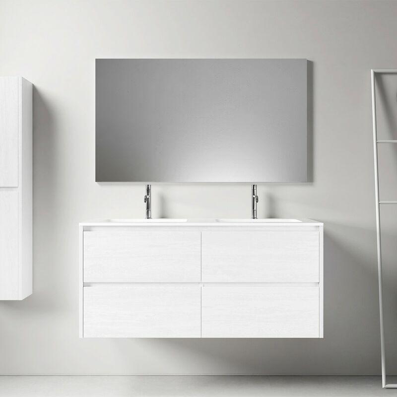 STANO. Meuble salle de bain design 120 cm DEKA finition mélaminé blanc - Blanc