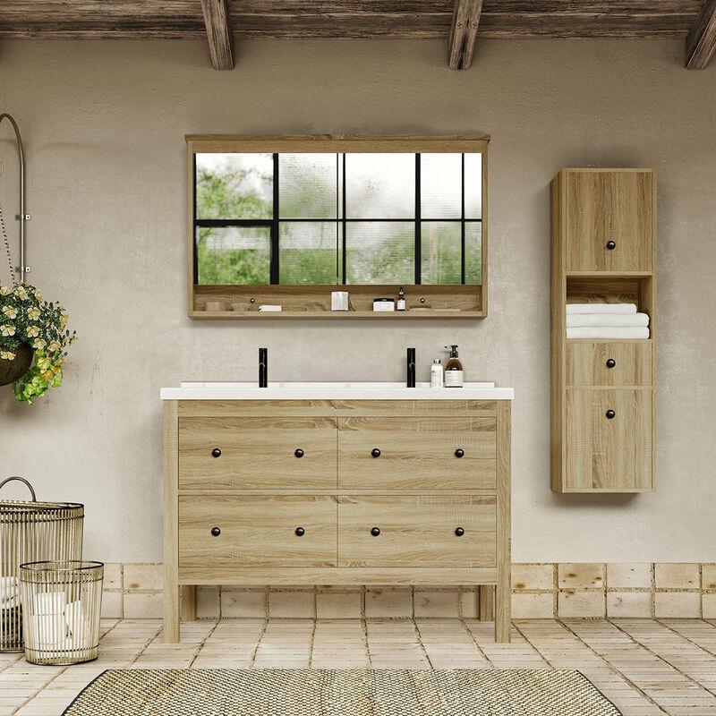 STANO. Meuble salle de bain design 120 cm TYPO finition mélaminé chêne avec