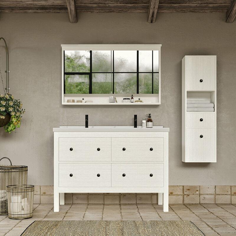 STANO. Meuble salle de bain design 120 cm TYPO finition mélaminé blanc avec
