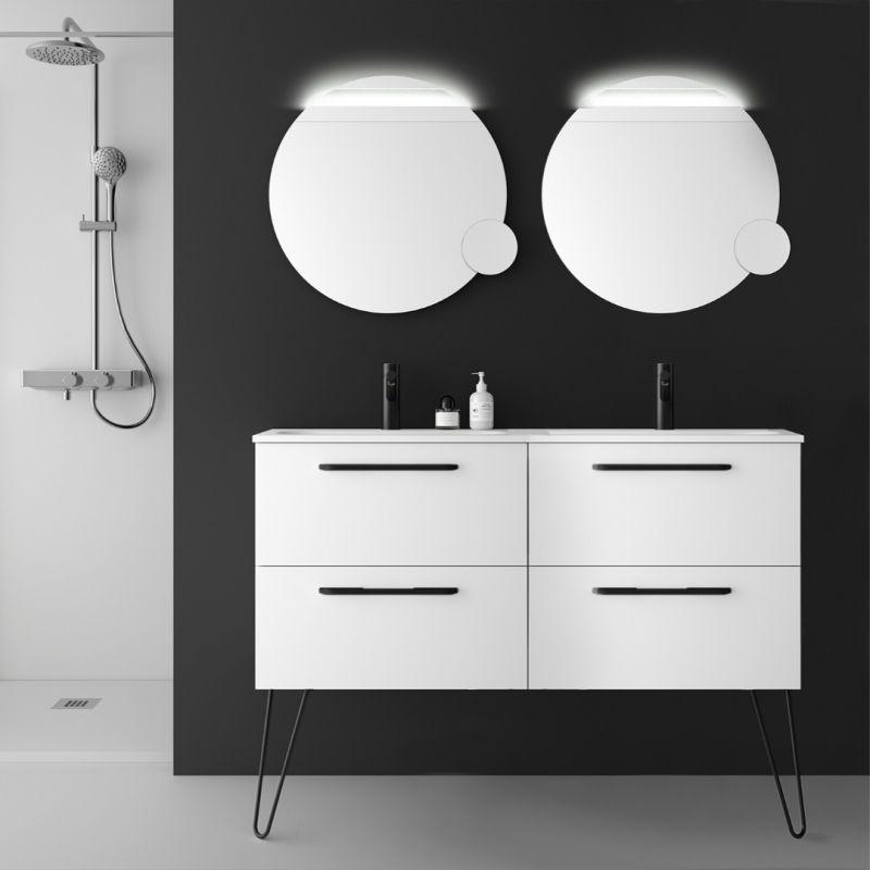 Planetebain Meuble salle de bain double vasque 120 cm à suspendre couleur blanc