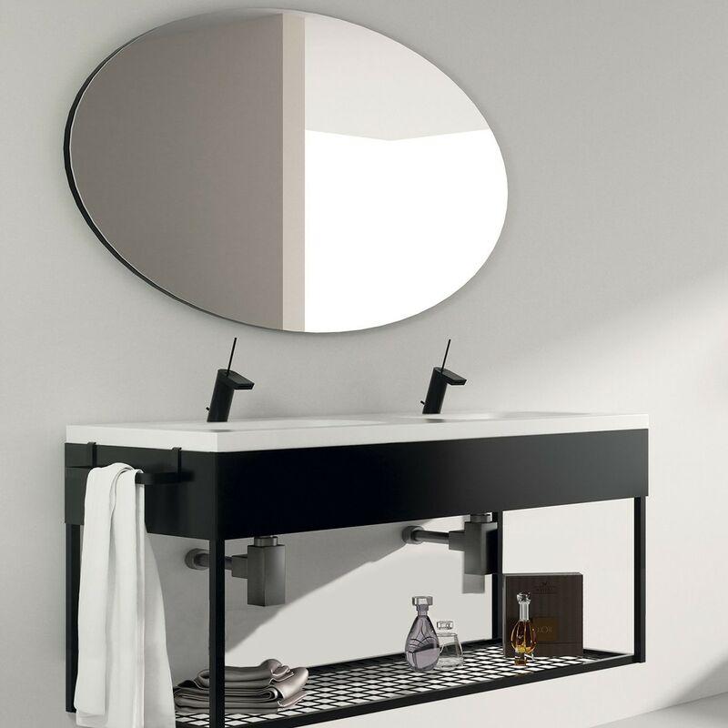 AQUAE LINE Meuble salle de bain suspendu 120 cm + double vasque céramique, Metal