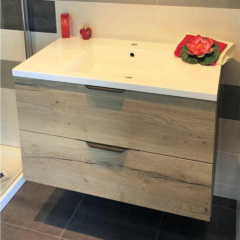 DISCAC Meuble sous vasque LOFT 2 tiroirs (70 cm) - Modèle : Bois Sciée Gris