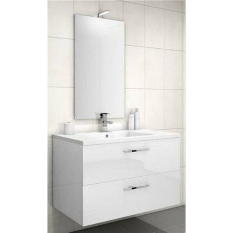 DISCAC Meuble sous vasque LOFT 2 tiroirs (90 cm) - Modèle : Bois Sciée Gris