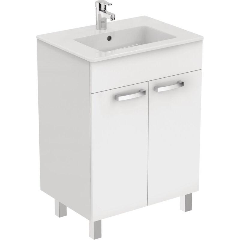 PORCHER Meuble sur pied 80 cm Ulysse et lavabo-plan, blanc laqué (E3257WG)