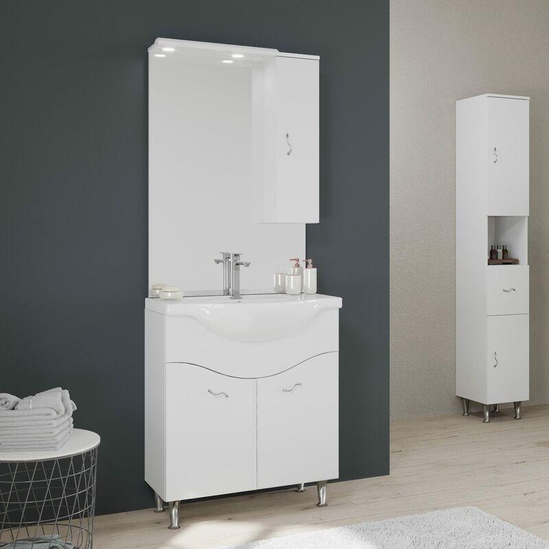 KIAMAMI VALENTINA Armoire De Toilette 75 Cm 2 Portes Et Meuble Haut En Blanc Brillant