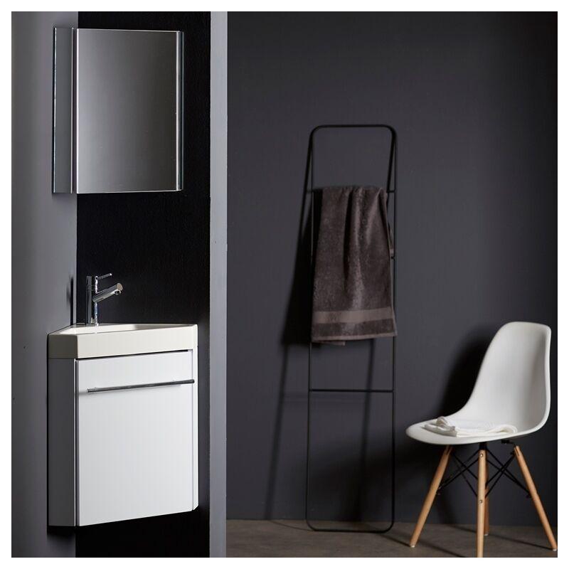 Planetebain Lave-mains d'angle avec meuble complet blanc brillant et mitigeur eau