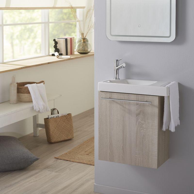 Planetebain Pack lave mains Chêne blanchi caledonia avec lave mains porte serviette